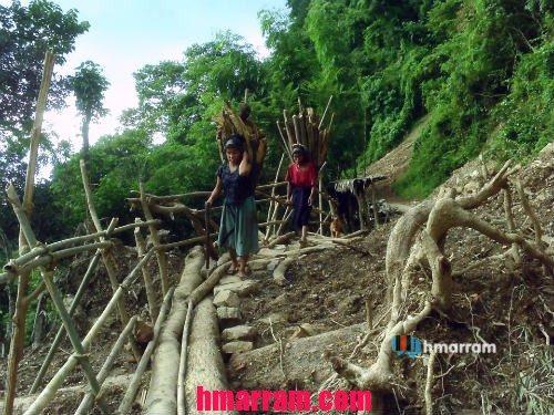Women carry firewood in Hmar Hills