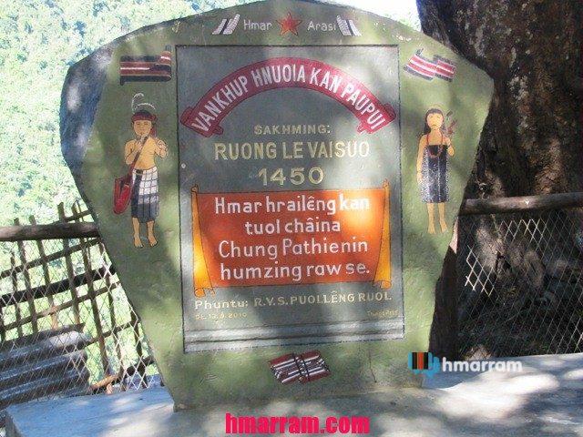 Ruonglevaisuo memorial stone in Hmar Hills
