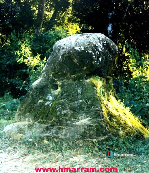 Lalruong Lungkap is one of the few megaliths attributed to history of the Hmar tribe. This stone, located at Patpuihmun village in Hmar Hills, Manipur, sported several holes supposedly created with arrow heads. Legend has it that it the holes were the pierced by the arrows of Lalruong, the legendary hero in Hmar folktales.