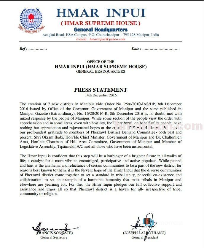 Hmar Inpui Welcomes Creation of Pherzawl District